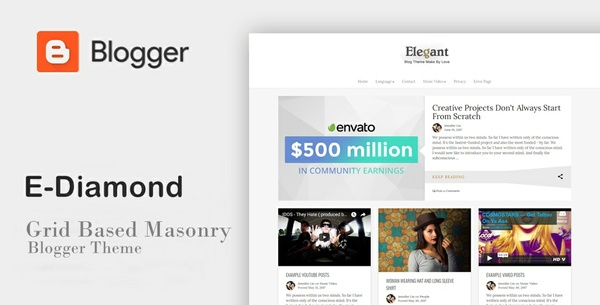 E-Diamond - Grid Based Masonry Blogger Theme
