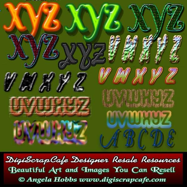 20 Custom Alphabet Letters Sets Sheets PNG PSD Photoshop Transparent Clip Art Bundle