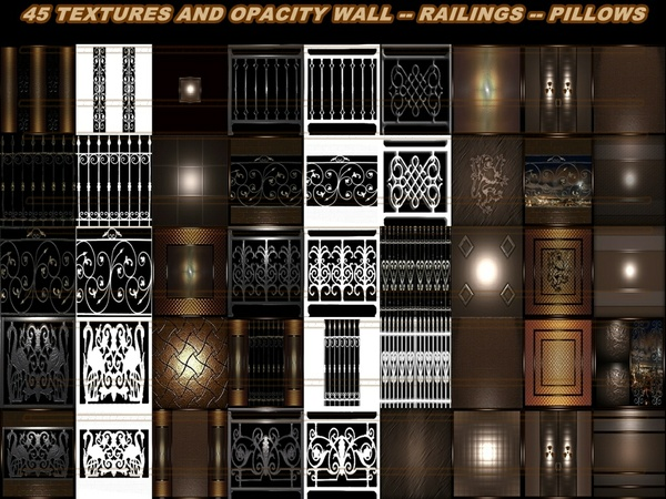45 textures Wall - Railings - Pillows
