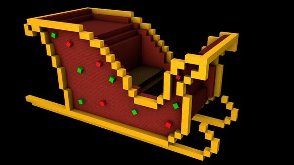 Minecraft Sleigh 3D Model (C4D)