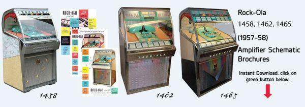 Rock-Ola    1458, 1462, 1465     (1957-58)   Amplifier Schematic  Brochures