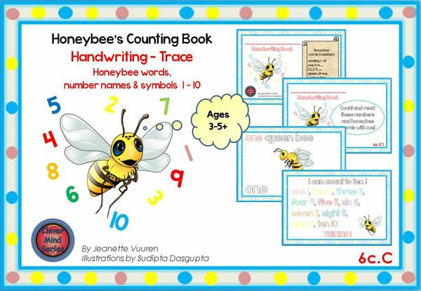 HANDWRITING CARDS: HONEYBEE WORDS & PICTURES & NUMBERS 1 - 10 - COLORED PICTURES - 6cC
