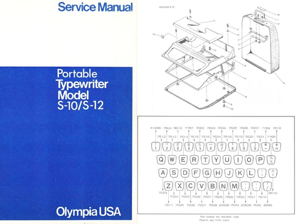 Olympia S-10 and S-12 Portable Typewriter Service Repair Adjustment Manual