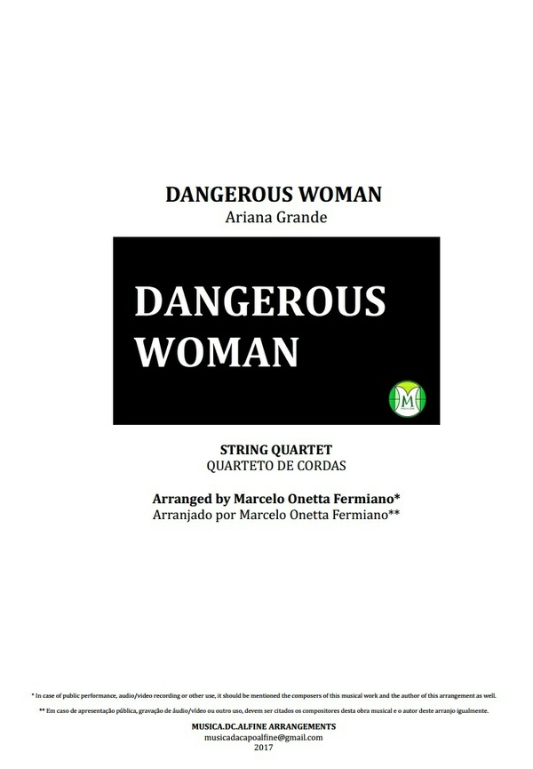 Dangerous Woman - Ariana Grande - String Quartet - Score and parts