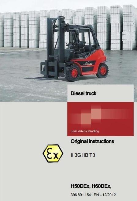 Linde Diesel Explosion Protected Forklift Truck H-Series Type 396 Ex: H50D Ex, H60D Ex User Manual