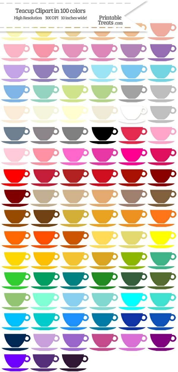 100 Colors Teacup Clipart Password