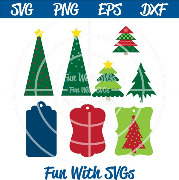 Christmas Tags, PNG, EPS, DXF and SVG Cut File, High Resolution Printable Graphics