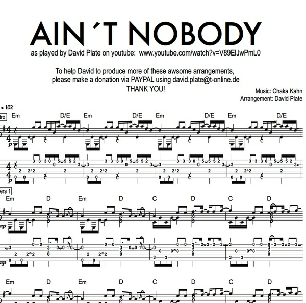 AIN´T NOBODY (Chaka Kahn) Fingerstyle Guitar Tutorial