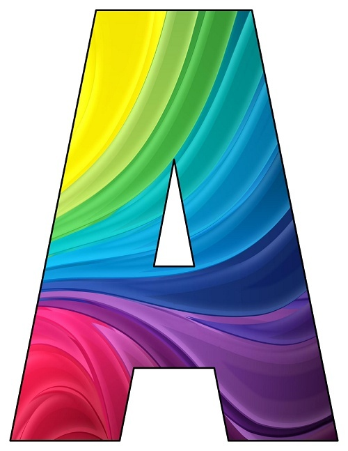 8X10.5  Inch Rainbow Waves Printable Letters A-Z, 0-9