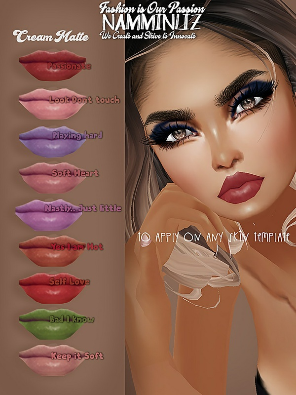 9 Cream Matte Lips PNG to Apply on any IMVU Skin Template