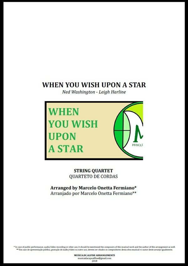 When You Wish Upon a Star | Disney Theme | String Quartet | Score and Parts
