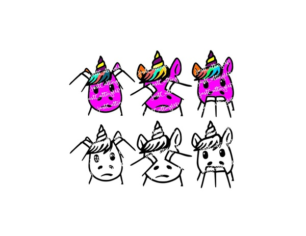 Unicorn SVG/PNG/JPEG Hear No Evile, See No Ear, Speak No Evil