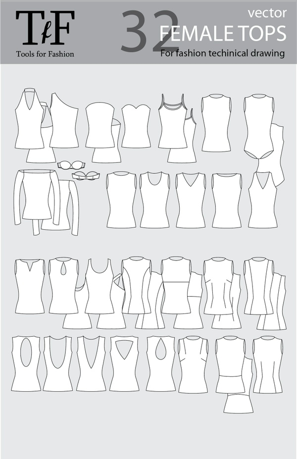 Female  Vector Tops for Fashion Technical Drawing
