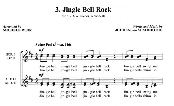 Jingle Bell Rock MP3 Audio Learning Tracks SSAA arr. Michele Weir