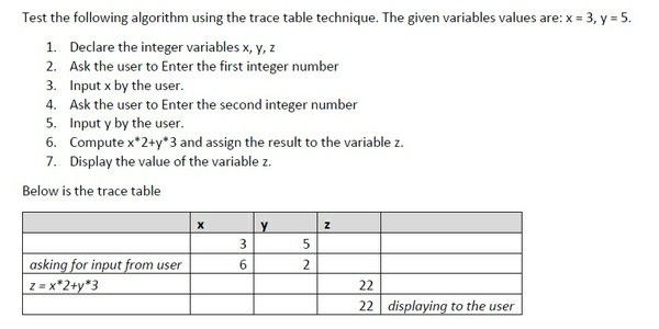 Trace table technique on Algorithm & Finding Odd number in array using C