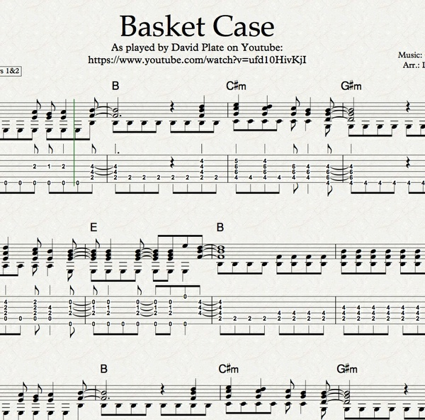 BASKET CASE (Green Day) - Fingerstlye Arrangememt (TABs + Notation)