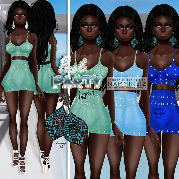 PoolParty combo3 ( 3 Outfits Bibirasta + Earrings )