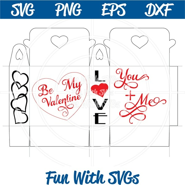 You and Me Treat Box, Valentine's Day PNG, EPS, DXF and SVG Cut File, Printable Graphics