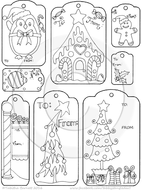Print, Color, and Cut Hand Drawn Whimisical Christmas Gift Tags