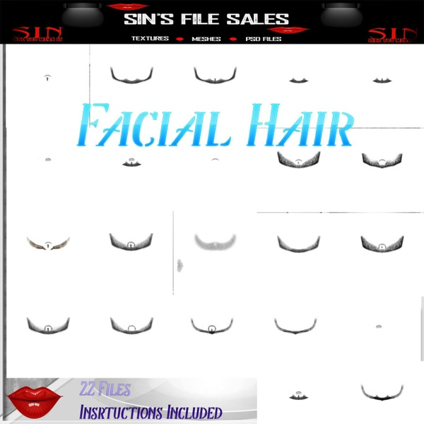 Facial Hair Add On's *22 Files with Instructions