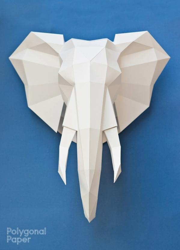 La plantilla 2d de la cabeza de elefante (La instrucción en español)