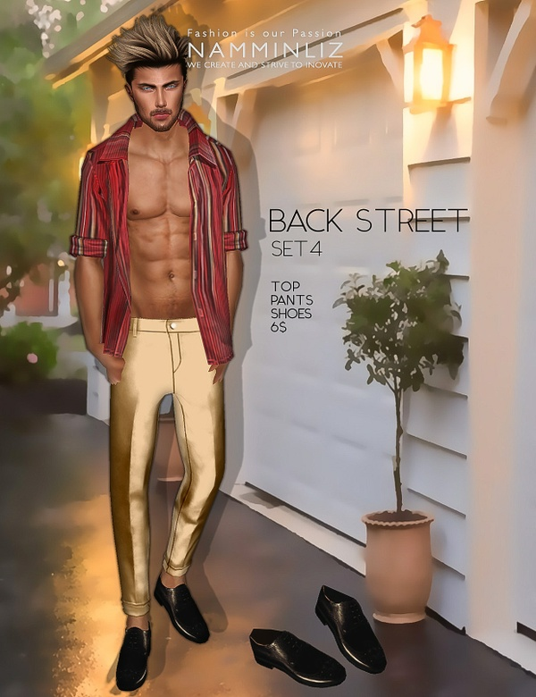 Back Street SET4  imvu Textures JPEG ( Male Top - Pants - Shoes )