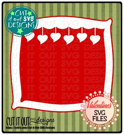 Hanging Hearts Valentines Frame - Perfectly Layered Cutting File for Vinyl Cardstock or HTV