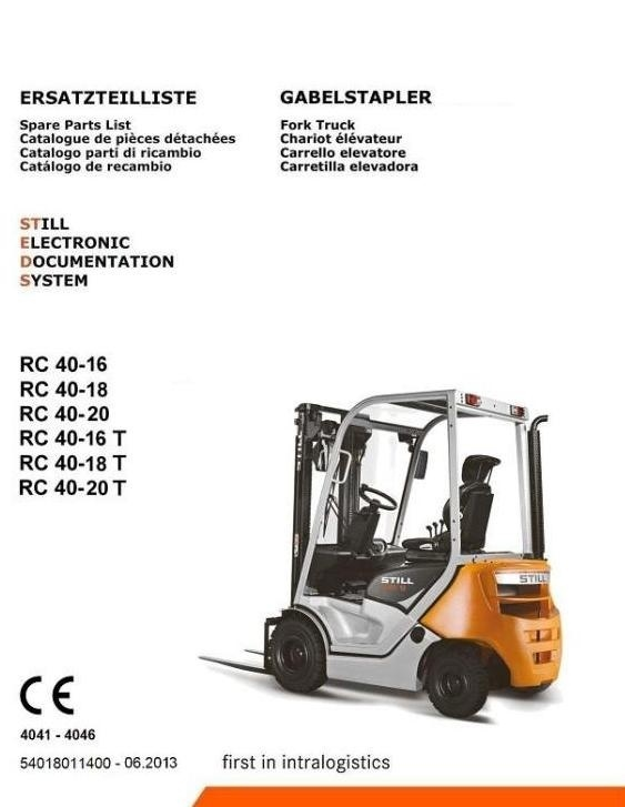 Still Forklift Truck RC40-16, RC40-18, RC40-20: 4041, 4042, 4043, 4044, 4045, 4046 Parts Manual