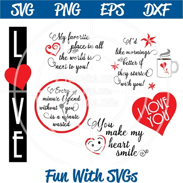 Love Sentiments and Art, SVG Files, Valentine, Cricut, Silhouette files, Next to You