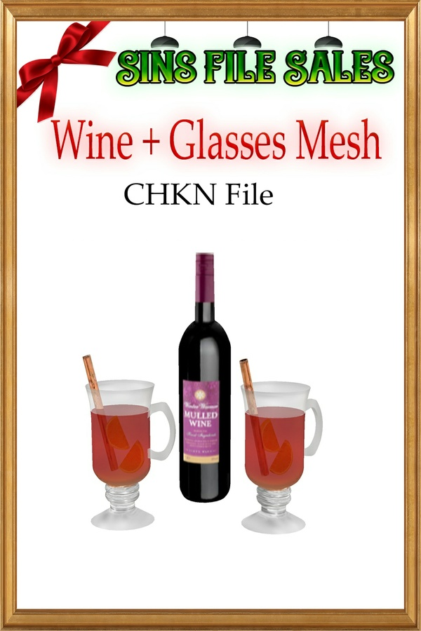 Wine With Glasses Mesh *CHKN