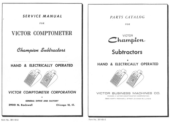 Service Manual and Parts Catalog for Victor Comptometer Champion Subtractors - Hand & Electrical