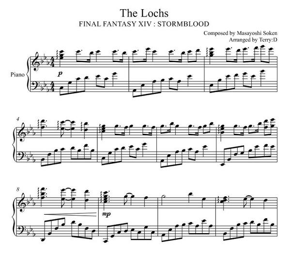 Final Fantasy XIV : The Lochs for piano solo (Arr.by Terry:D)