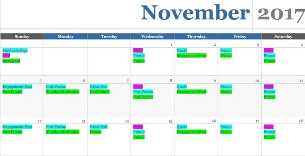 Simple Content Calendar Template