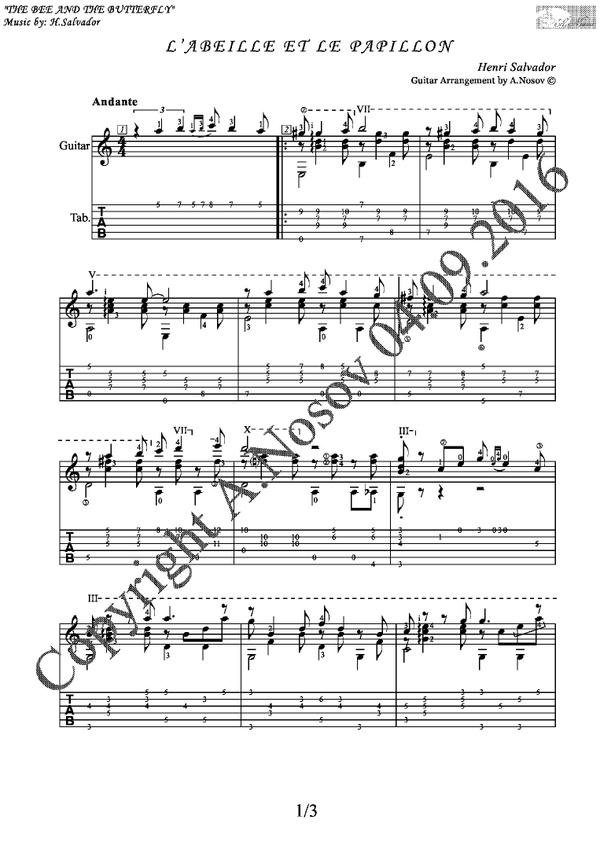 L'abeille Et Le Papillon (H.Salvador) Sheet music for guitar