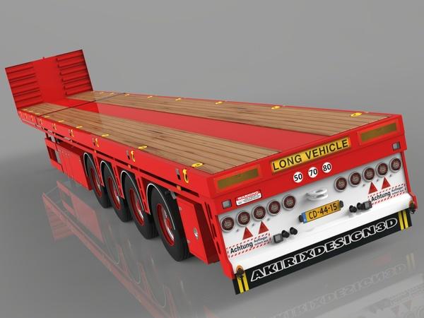 3D 4 Axled Oversize Loads Trailer Empty Version