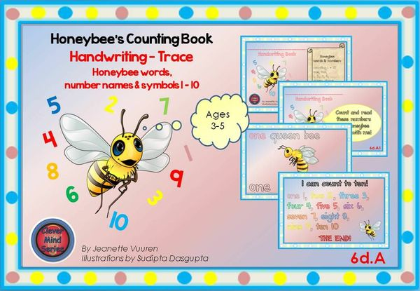HANDWRITING CARDS: HONEYBEE WORDS & PICTURES & NUMBERS 1 - 10 - COLORED BACKGROUND - 6dA
