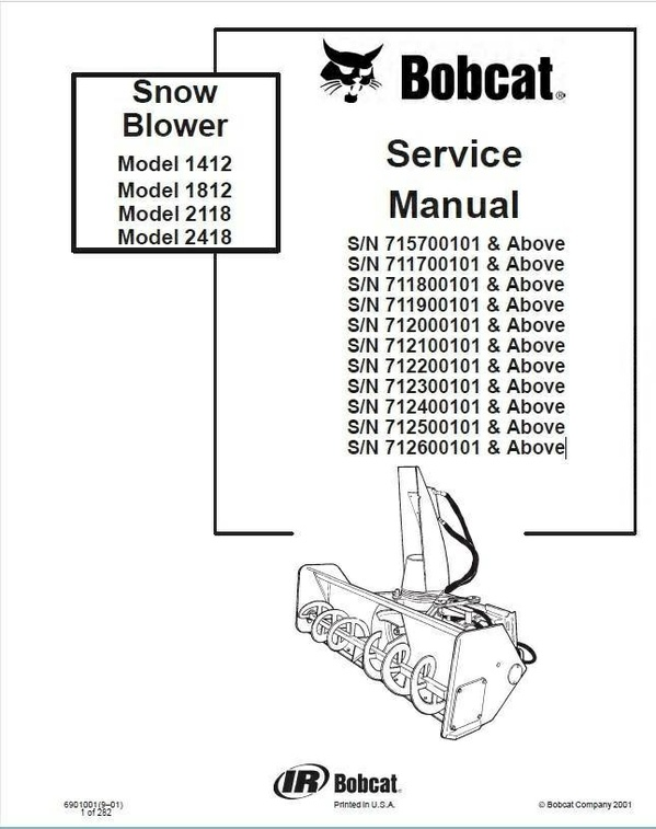 Bobcat 1412, 1812, 2118, 2418 Snowblower Service Repair Manual PDF