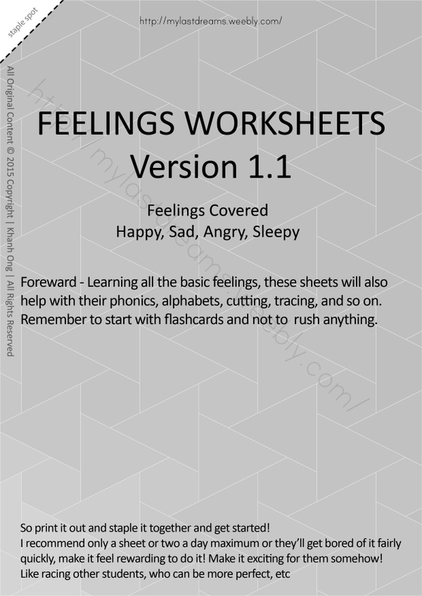 MLD - Basic Feeling Worksheets - Part 1 - A4 Sized