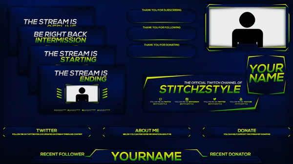 Blue and Green Twitch Stream Rebrand Photoshop Template