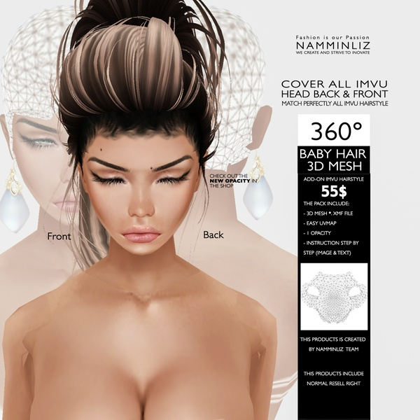 360° BABY HAIR 3D MESH •Cover all imvu head back & front