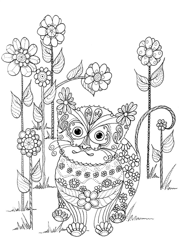 Kitten and Flowers Coloring Page