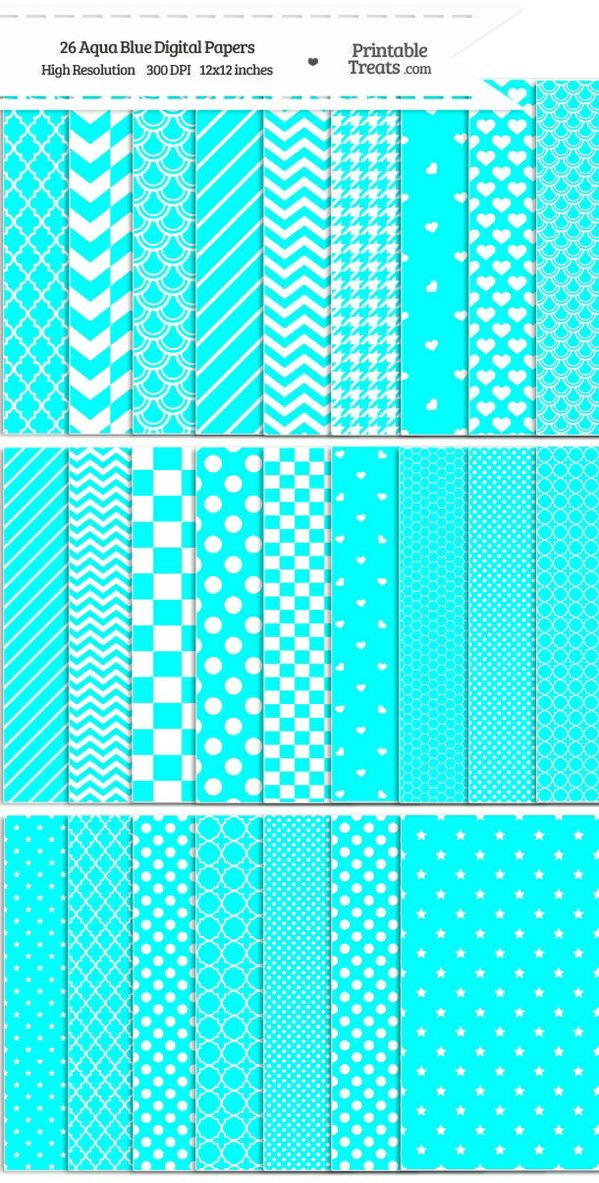 26 Aqua Blue Digital Paper Set Password