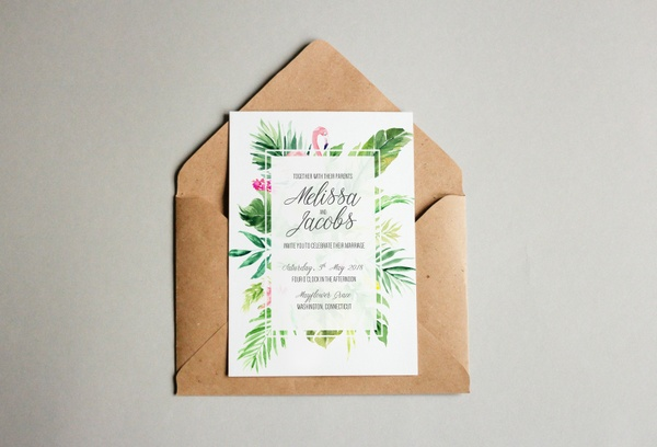 Free Tropical Flamingo Wedding Invitation Template