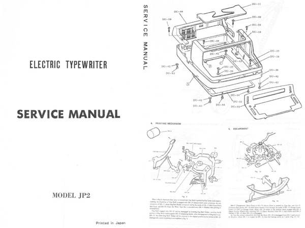 Brother JP-2 Electric Portable Typewriter Repair Adjustment Service Manual