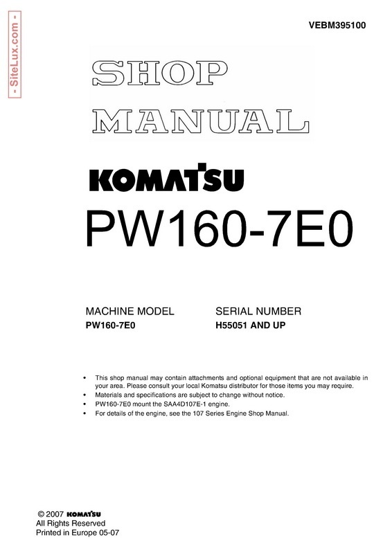 Komatsu PW160-7E0 Hydraulic Excavator (H55051 and up) Shop Manual - VEBM395100
