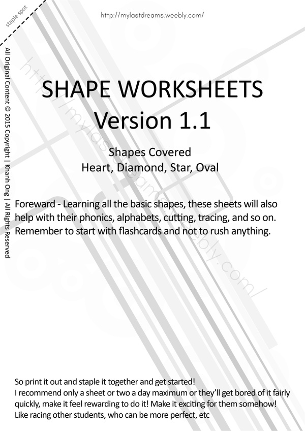 MLD - Basic Shapes Worksheets - Part 2 - A4 Sized