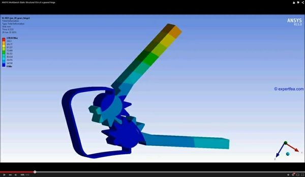 ANSYS Workbench MECHDAT file and 3D model for geared hinge