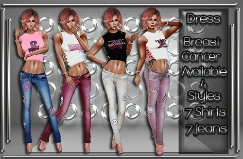 Breast Cancer Jeans & Top V1 Set Catty Only!!!