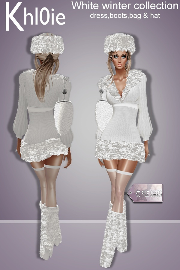 Winter White collection ( dress, boots, hat & bag)