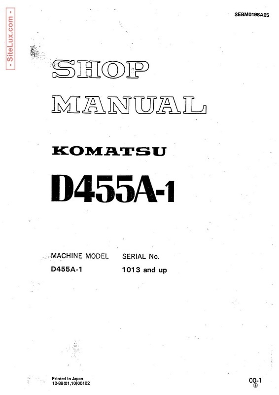 Komatsu D455A-1 Crawler Dozer (1013 and up) Shop Manual - SEBM0198A05